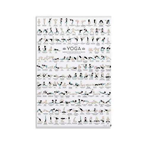 ERTEF Yoga - 150 Poses - Póster de lienzo y pared con impresión moderna para dormitorio familiar (30 x 45 cm)