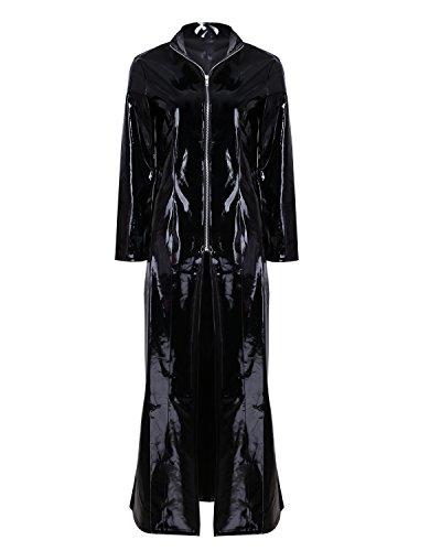 inhzoy Unisex PVC Mantel Lack Optik Matrix Jacke Robe Lange Coat mit Stehkragen Glänzend Outwear Cosplay Kostüm Party Fasching Schwarz M