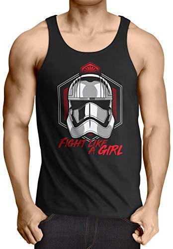 A.N.T. Fight Like a Girl Camiseta de Tirantes para Hombre Tank Top T-Shirt Imperio Soldado de Asalto, Talla:L