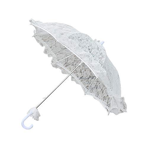 ChYoung Paraguas de Encaje Sombrilla Blanco Romántico Paraguas de Boda Dama Accesorio de Traje Decoración de Fiesta Nupcial Accesorios de Fotos