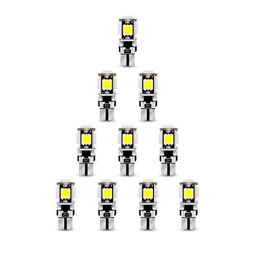 ELINKUME 10x Ampoule T10 LED Lampe Voiture Pour Lampe Veilleuse Festoon Canbus LED, DC 12V, Blanc 6000K