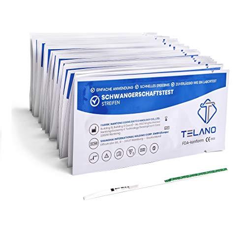 25x Telano Schwangerschaftstest Streifen Frühtest 10mIU/ml | Schwangerschaftstest Frühtest zur Frühen Erkennung einer Schwangerschaft | Frühschwangerschaftstest Streifen zur Anwendung Zuhause