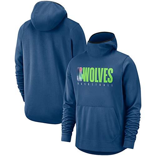 XIKONG Wolves Herren Basketball Trikots Hoodies Pullover Herbst Winter Training Outfits Basketball Spiel Jumpe Blau-L