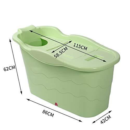 Inflatable tub Grand Seau en Plastique Debout Libre de Douche, Baignoire Adulte de ménage avec Le Couvercle Peut Stocker, Spa de Maison de Salle de Bains (Color : Green)