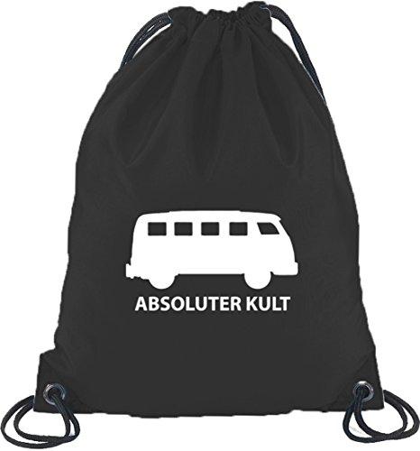 Shirtstreet24, ABSOLUTER KULT, Bus Turnbeutel Rucksack Sport Beutel, Größe: onesize,Schwarz