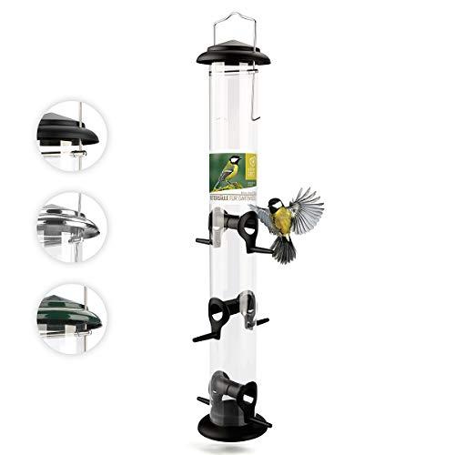 wildtier herz | 52cm Vogelfutterspender - 5 Jahre Garantie – aus rostfreiem Metall, Vogel Futterstation, Futtersäule, Wildvögel Futtersilo, Schwarz