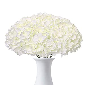 Ouddy 12 Pack Artificial Hydrangea Flowers White Fake Hydrangea Silk Flowers Heads with Stems for Wedding Party Home Shop Decoration Centerpieces Bouquets DIY Floral Decor