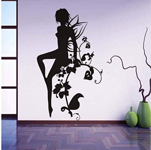 Moderne Wohnkultur Pvc Wasserdicht Schwarz Silhouette Gedruckt Blume Fee Mädchen Wandaufkleber Badezimmer Dekoration 59 * 92Cm