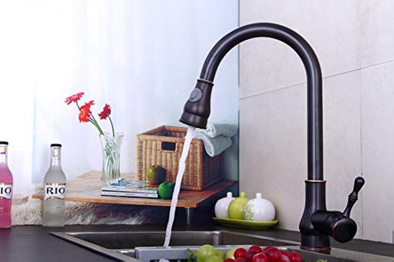 LSYR Retro Küche ziehen hei und kalt Wasserhahn schwarz Kupfer versenkbare rotierenden Becken Waschbecken Wasserhahn