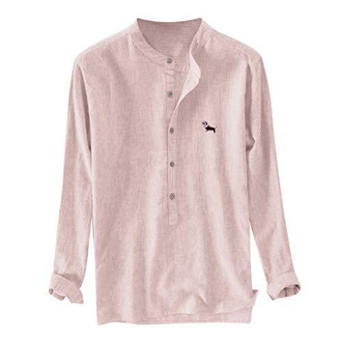 Romantic Homme Chemise Manches Longues sans Repassage Facile Slim Fit Business Infroissable Coupe Parfaite Casual Bouton en Lin de Coton brodé à Rayures pour Hommes, Plus la Taille T-Shirts