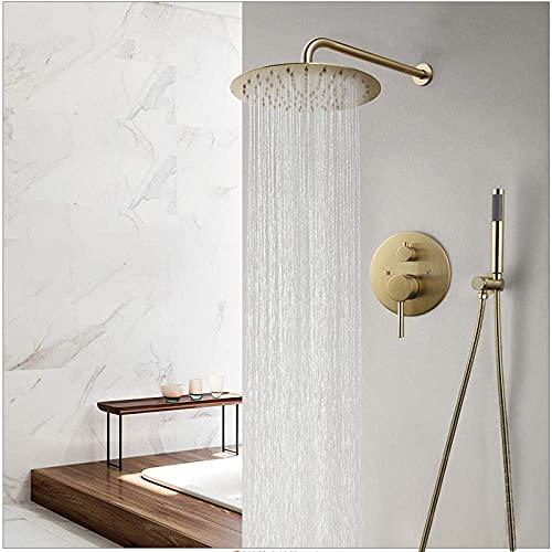 Juego de grifos de ducha dorada de 10 pulgadas Juego de ducha de lluvia montada en la pared con cabezal de ducha redondo con juego de grifo mezclador de ducha de mano