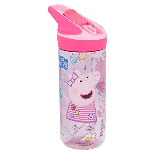 Peppa Pig | Botella de Tritan Reutilizable para Niños | Cantimplora Reusable con Sistema Antigoteo...
