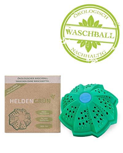 Heldengrün Öko Waschball [TESTURTEIL:'GUT'] - Waschen ohne Waschmittel - Laborgeprüft & BPA-frei - Bio Waschkugel mit 4-facher Mineralformel und doppelter Magnetkraft - Allergenarm & Antibakteriell