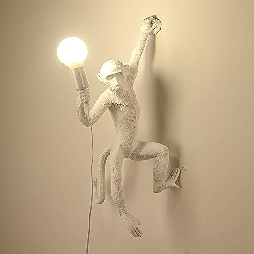 Luz de pared de la casa de campo de la personalidad, iluminación mono de la sala vintage, luz de la pared de la lámpara decorativa del pasillo del pub resina del café L37cm E27 (sin bombilla),Blanco