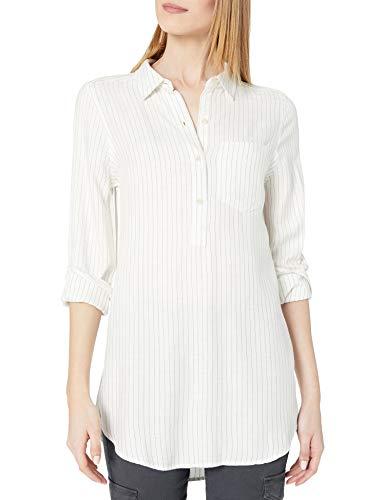 Amazon Brand - Daily Ritual Women's Soft Rayon Slub Twill Long-Sleeve Popover Tunic, White/Charcoal Pinstripe, Medium