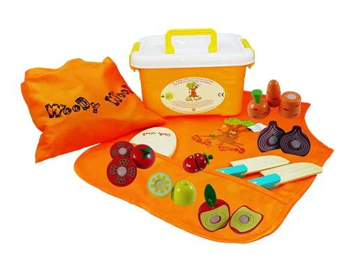 WoodyWood® Schneidebrett Obst & Gemüse aus Holz 20 teiliges Überraschungsset Schneideset mit Klettverbindung aus Holz für Kinder Spielzeug