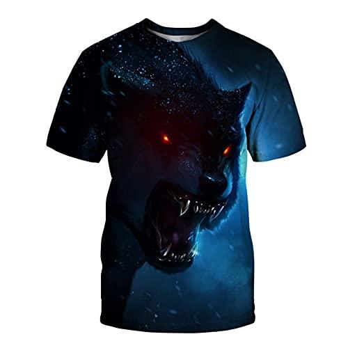 SSBZYES Summer T-Shirt Short-Sleeved Mens T-Shirt Large Size T-Shirt Mens Casual Top Wolf Print T-Shirt Mens Round Neck Loose Short-Sleeved Bottoming Shirt