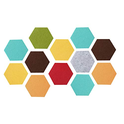 Vosarea 12 Pcs de fieltro de pared con forma de hexágono adhesivo de pared(color aleatorio)