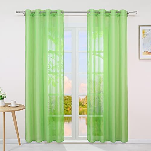 Yujiao Mao Voile Vorhang Ösen Gardinen Schal Uni Transparent Ösenvorhang 1er-Pack BxH 140x145cm Grün