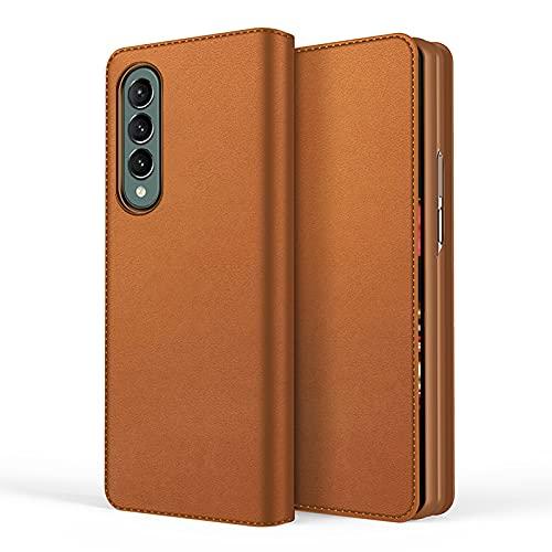 Compatible para Samsung Galaxy Z Fold 3-5G Smartphone Funda(2021)+3D Vidrio Templado Protector de Pantalla/Ultra Fina Carcasa Magnético PU Cuero Flip Libro Funda Suporte Protectora Caja cojín-Marrón
