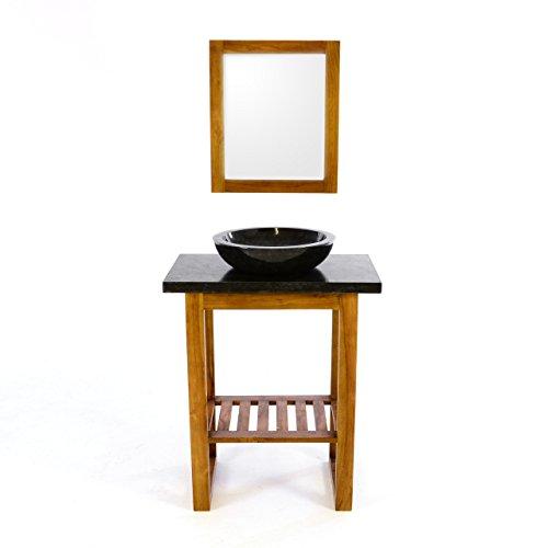 Divero Badmöbel-Set Teakholz- Waschtisch feine Marmorplatte poliertes Aufsatzwaschbecken aus schwarzem Marmor Teakholz- Spiegel Handarbeit