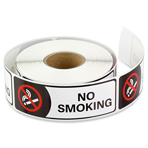 3 x 1 Inch Rectangle - NO Smoking Warning Alert Stop Smoke No Cigarette Logo Safety Sign Window Door Wall Sticker Labels by Tuco Deals (Black/White, 2 Rolls Per Pack)