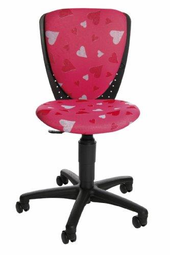 Topstar S'cool 3, Kinderdrehstuhl, Schreibtischstuhl für Kinder, Bezugsstoff pink, Motiv Herzchen