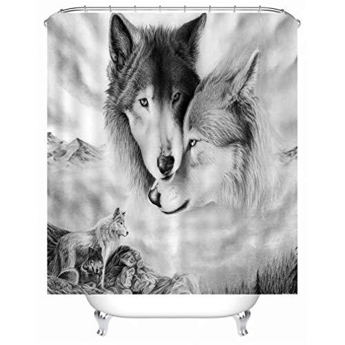 X-Labor Tier Motiv Duschvorhang Wasserdicht Stoff Anti-Schimmel inkl. 12 Duschvorhangringe Waschbar Badewannevorhang 180x200cm Wolf