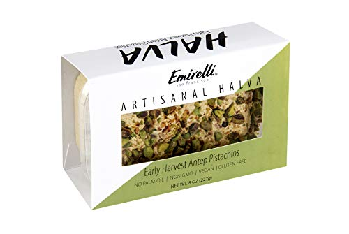 Emirelli Artisanal Halva Dessert – Authentic Middle Eastern Candy Turkish Sweets – Vegan Candy 55%-Tahini Halwa - Halvah Traditional International Sweets - Harvest Antep Pistachios Flavor, Pack of 1 by Emirelli