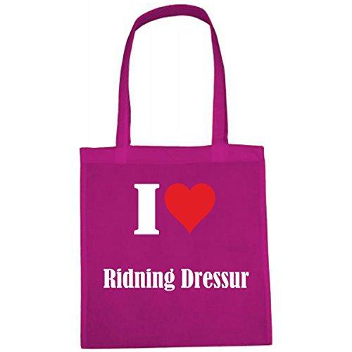 Tasche I Love Ridning Dressur Größe 38x42 Farbe Pink Druck Weiss