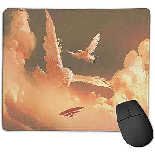 Muismat Fantasy Art House Decor Phoenix vogel gevormde pluizige wolk in zonsondergang met vliegtuig vrijheid schilderen crème blauw L offic