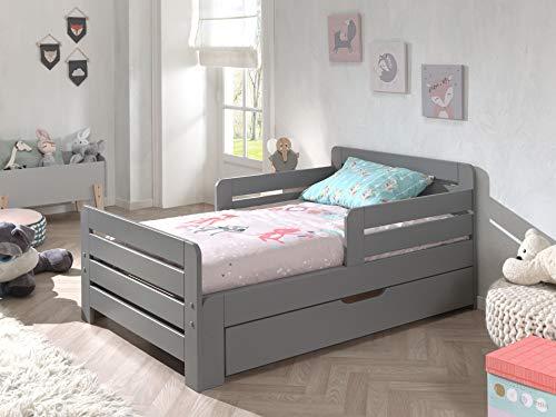 Vipack Cama infantil Jumper para extraerse de 140 – 200 cm, incluye cajón y colchón de 140 + 60 cm, pino macizo lacado en gris