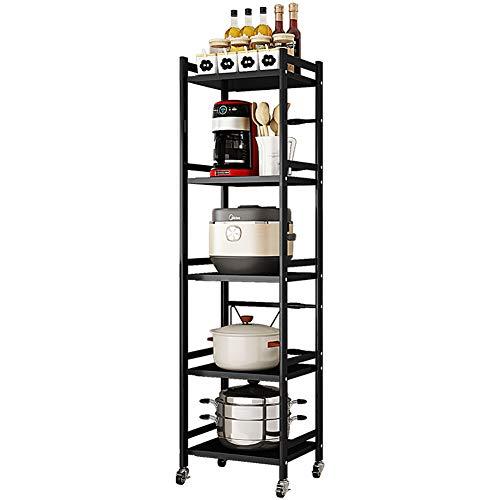 Plasaig - Estante de almacenamiento multifuncional para microondas con ruedas, soporte para microondas de carga pesada, organizador de almacenamiento de cocina (5 niveles L-41-65 cm)