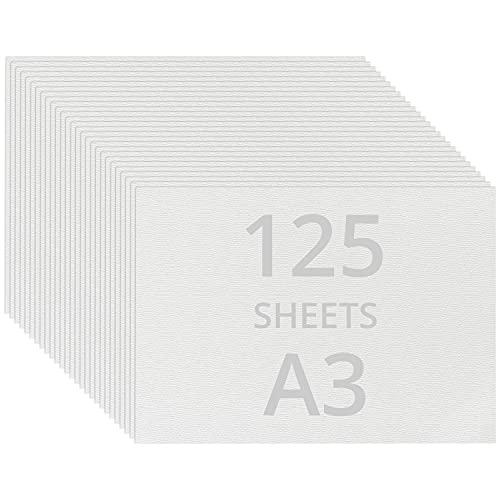 BELLE VOUS Aquarellpapier Weiß Aquarellblock A3 (125 Blatt) - Wasserfarben Zeichenblock 200 GSM Kaltgepresst Malblock Aquarell Papier - Ideal für Künstler, Anfänger, Zeichnen, Skizzieren, Sketchbook