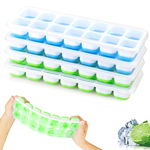 4er Pack 14-Fach Eiswürfelform Silikon Mit Deckelm, Platzsparend und stapelbar Ice Tray Ice Cube, LFGB Zertifiziert und BPA Frei Quadratische Eiswürfelschalen einfach Herauszunehmen