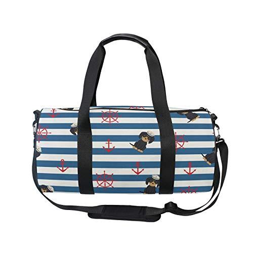 TropicalLife iRoad - Mochila deportiva para gimnasio, bolsa de viaje con ancla, diseño de rayas, ligera, con correa para el hombro, bolsa de gimnasio para hombres y mujeres