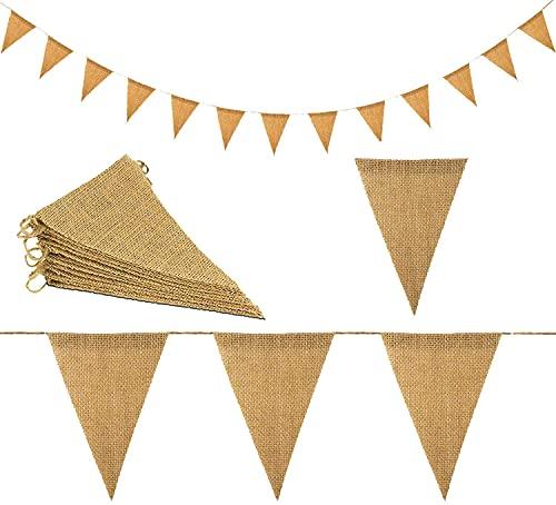 MOSSUO Bandera de arpillera de 11 m, 48 banderas rústicas de arpillera, guirnaldas naturales de lino para decoración de bodas (11 m)