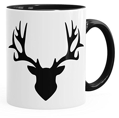 Autiga Tasse Hirsch Geweih Kaffeetasse Teetasse Keramiktasse mit Innenfarbe schwarz Unisize