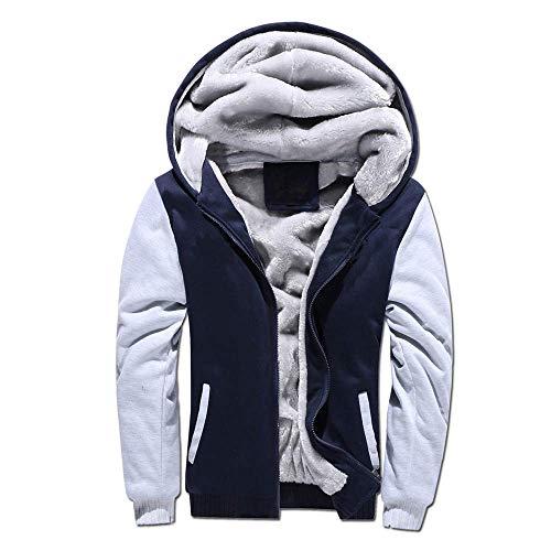 VSUSN Homme Veste à Capuche avec Zippée Manches Longues Épaisse Manteau à Capuche Hiver Chaud Polaires Doublé Sweats à Capuche(Bleu&Gris, 5XL)