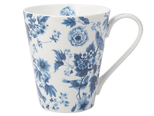 Creative Tops V And A - Tazza conica da tè in Porcellana Fine Bone China, Motivo Floreale, Colore: Bianco/Blu
