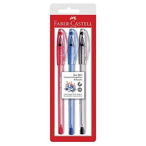 Caneta Esferográfica, Faber-Castell, Ice 061, SM/ICEOFFICE, 3 Cores, Azul/Vermelho/Preto
