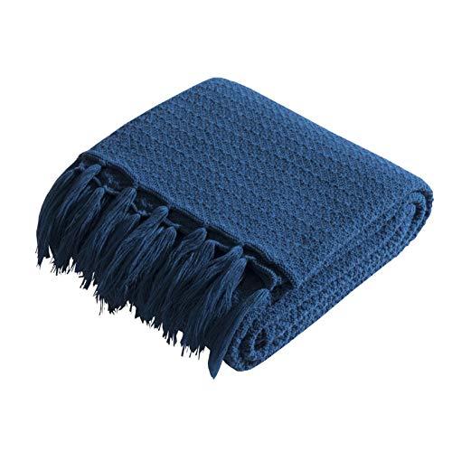 LYDK Manta de punto de otoño e invierno, color puro simple para siesta, suave traje fotografía accesorios azul mar 130 x 160 cm
