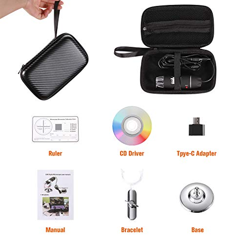USB Digital Microscope 40X    to 1000X, Bysameyee 8 LED Magnification Endoscope Camera with Carrying Case