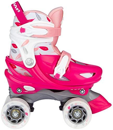 Nijdam Roller Skates Adjustable - Feather Drops - Fuchsia/Pink/White/Silver Grey - 25-28
