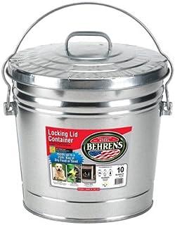 Behrens FBA High Grade 6110 10 Gal Silver Galvanized Steel Dry Storage Can W/Locking Lid