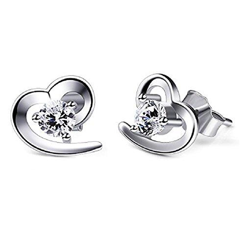 Pendientes mujer, Pendientes plata, Pendientes plata de ley con forma de corazón, Pendientes baratos con un diseño especial que te enamora.