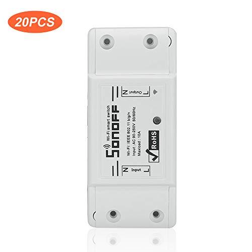 OWSOO 20PCS Interruptor WiFi Básico, 10A/2200W, Interruptor Remoto Inalámbrico, Soporta Control de Android/iOS App, Comaptible con Alexa para Google Home, Módulo Universal de Automatización