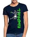 Joueur De Handball À L'Attaque T-Shirt Femme, S (36), Marine