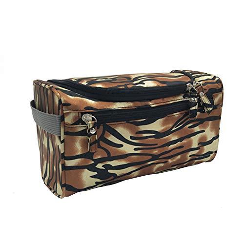 MoGist Trousse de Toilette Sac de Rangement Imperméable Sac de Voyage Maquillage Étanche Tissu Oxford Brown Beige 26 * 15 * 16cm