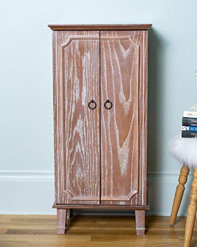Hives & Honey Carson Armoire Fully Locking Jewelry Cabinet, Oak